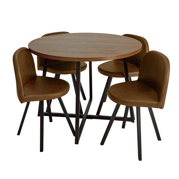 Buy Argos Home Nomad Oak Effect Dining Table & 4 Chairs | Space Saving Dining Sets | Argos | Space Saving Dining Table, Dining Table Chairs, Compact Table And Chairs
