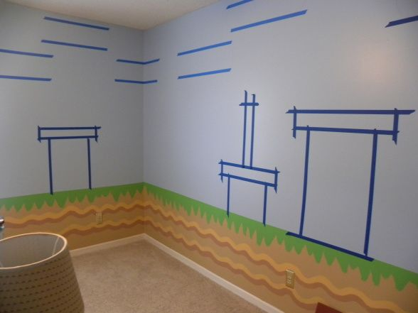 mario bros., all of the details have been hand painted to look just like super mario bros game., after i painted the bottom half, had to tape my design, Boys Rooms Design