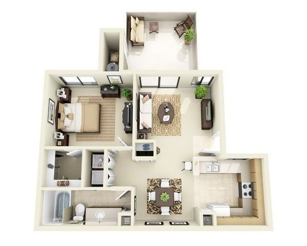 The Ocotillo 1 Bedroom 1 Bathroom Floor Plan Apartment Layout Studio Apartment Floor Plans Studio Apartment Plan