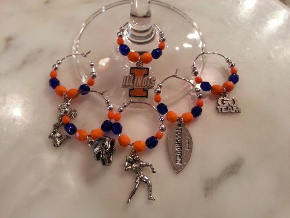 Illinois Fighting Illini Football Wine Charms W Pouch by pchum