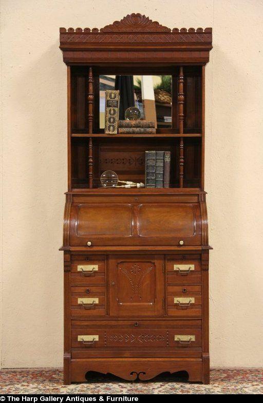 Cylinder Rolltop 1880 Antique Secretary Desk, Bookshelf Galleries