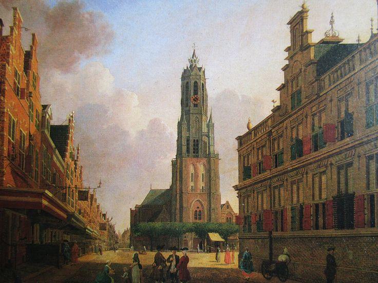 Delft, Netherlands, Gezicht op de Markt  Jan ten Compe 1775