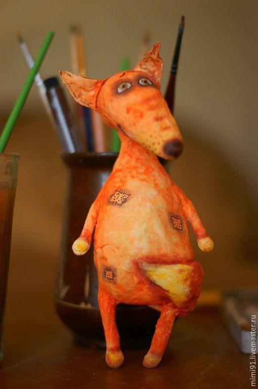 Купить Елочная игрушка Лисенок - вата, ватное папье-маше, елочные игрушки, новогодний сувенир