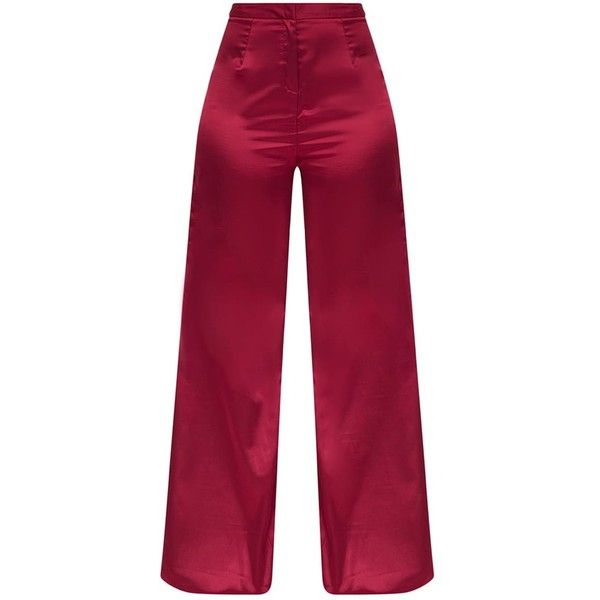 Wine Satin Wide Leg Trousers ($41) ❤ liked on Polyvore featuring pants, wide leg trousers, wide leg pants, satin wide leg pants, wine pants and satin pants
