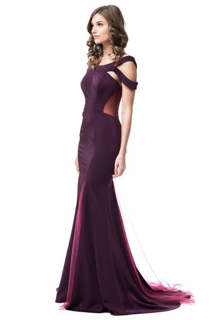 Simple and minimalist Long Off Shoulder Plum Bridesmaid Prom trumpet gown – Frugal Mughal