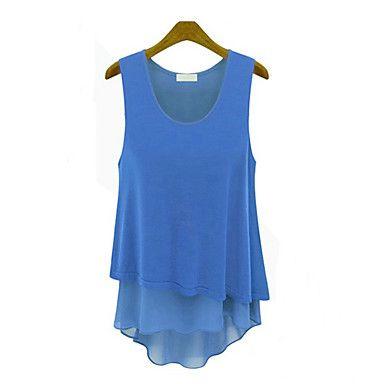 Ärmlös KVINNOR T-Shirts ( Chiffong – SEK Kr. 75