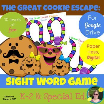 This is the digital, paperless version of The Great Cookie Escape Sight Word Game for Google Drive/Docs. You can also print this game to make a paper version. Great for K-2 readers who use a tablet or Chrome book with access to Google Drive/Docs. Using this resource will require internet access for