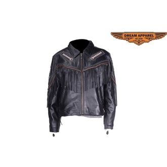 Womens Leather Motorcycle Jacket With Arrows & Fringes