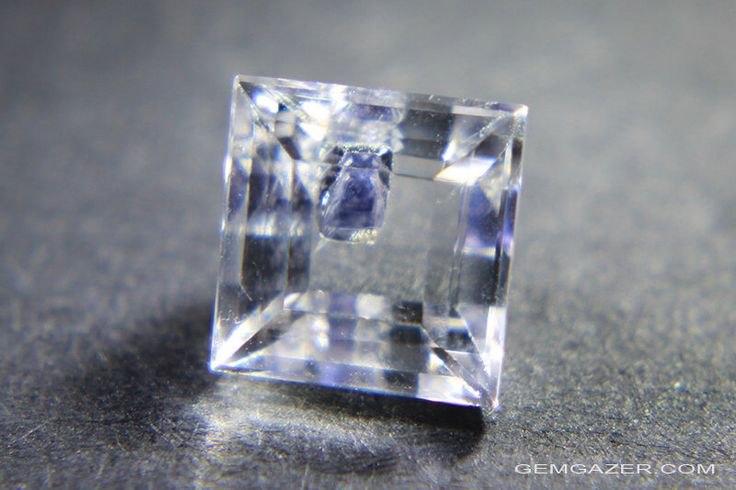 Quartz with blue Fluorite inclusion, faceted, Madagascar.  1.93 carats. by GemgazerUK on Etsy https://www.etsy.com/listing/258552596/quartz-with-blue-fluorite-inclusion