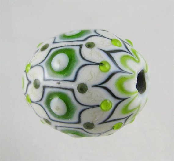 Round Ottoman in Shades of Green Lampwork Focal Bead by Amy Waldman-Smith