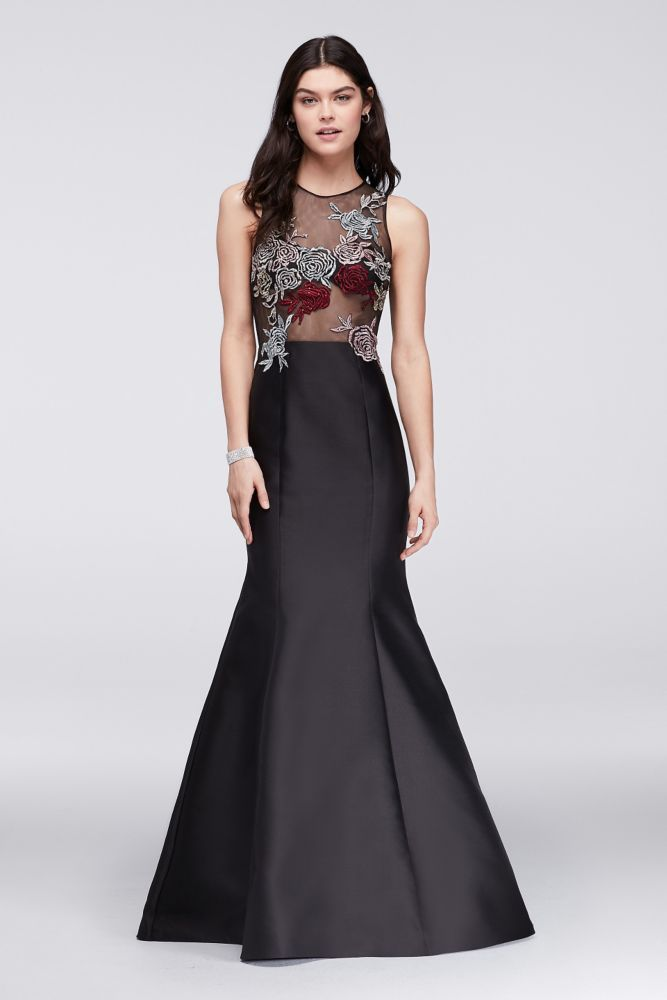 Mikado Trumpet Gown with Embroidered Illusion Top - Black, 0