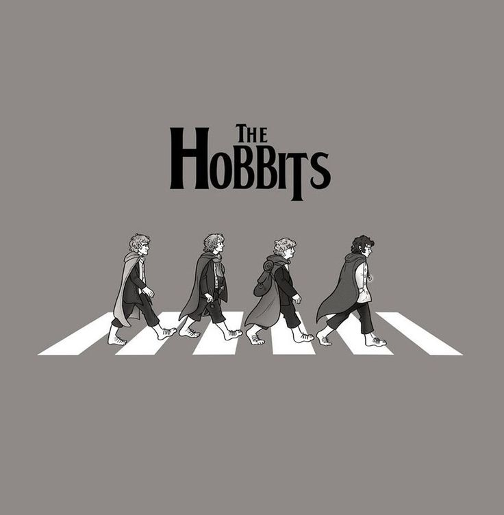 Los hobbits en Abbey Road.