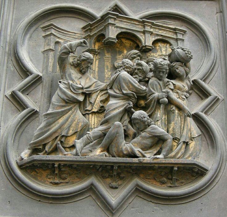 Porta Nord del Battistero di Firenze: cacciata dei mercanti dal tempio. 1407-1424.