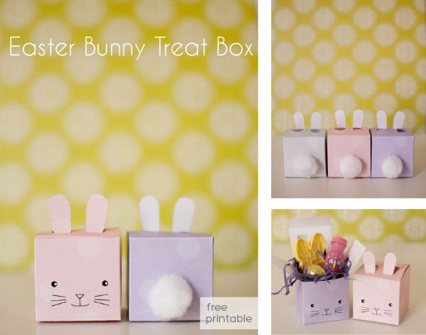 Free printable Easter bunny gift box for treats.  These are so great for quick simple Easter favors!
