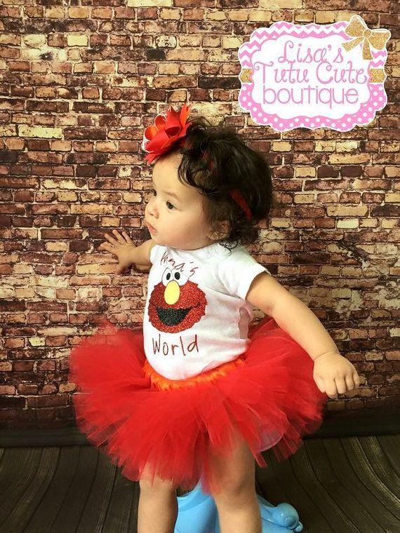 Elmo tutu outfit. Personalized Elmo's World Tutu Set. Birthday photos. Birthday tutu set. Party tutu.