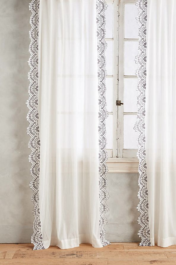 Eyelet Trimmed Curtain By Anthropologie