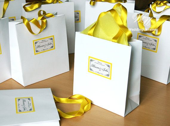 Elegant White Wedding Welcome Bags with satin by WeddingUkraine