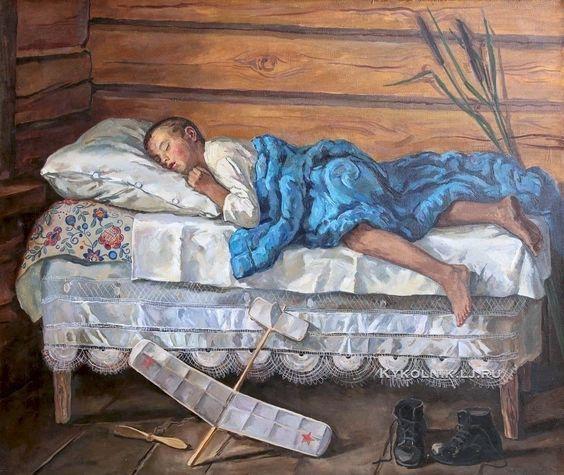 Переяславец Владимир Иванович (Россия, 1918) «Налетался» 1957:
