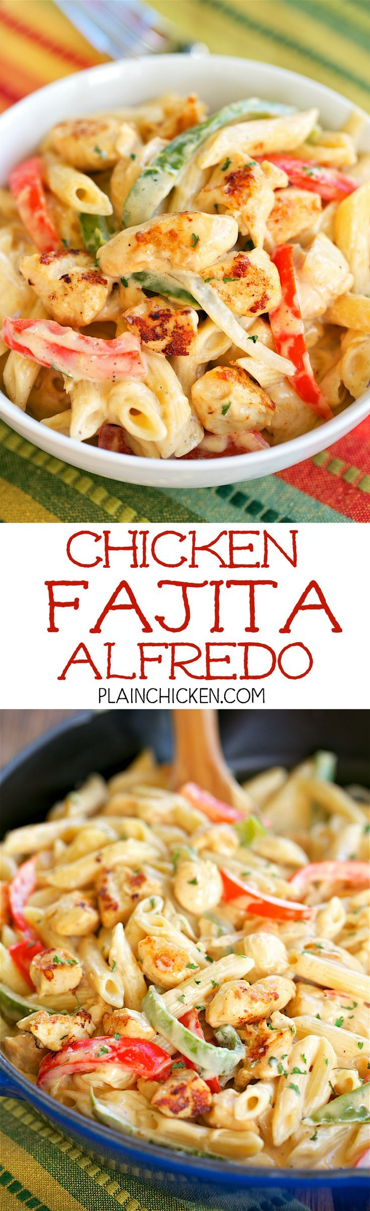Chicken Fajita Alfredo - ready in 15 minutes! All the flavors of fajitas tossed with pasta and an easy homemade Alfredo sauce. Chicken onion, bell pepper, fajita seasoning, heavy cream, pasta and parmesan cheese. Everyone loved this!