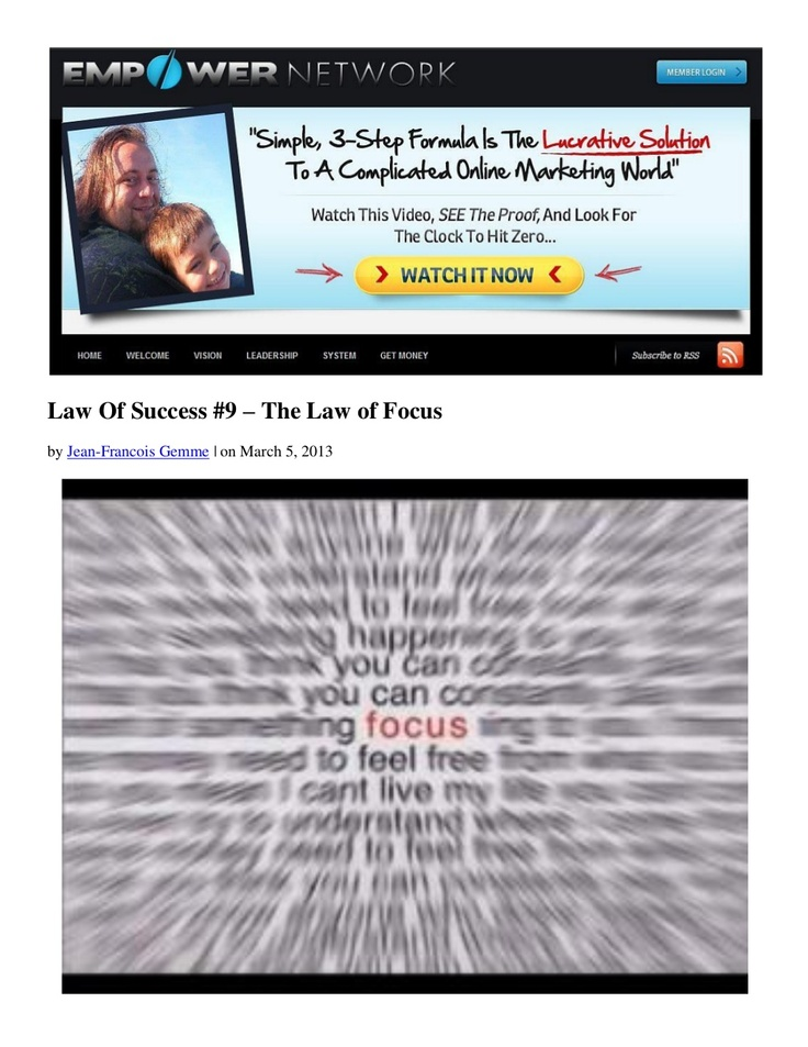 law-of-success-9-the-law-of-focus-by-dani-johnso by Jean-Francois Gemme via Slideshare