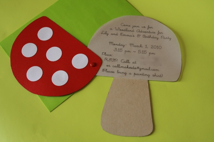 Toadstool invitations for a Woodland Adventure party.