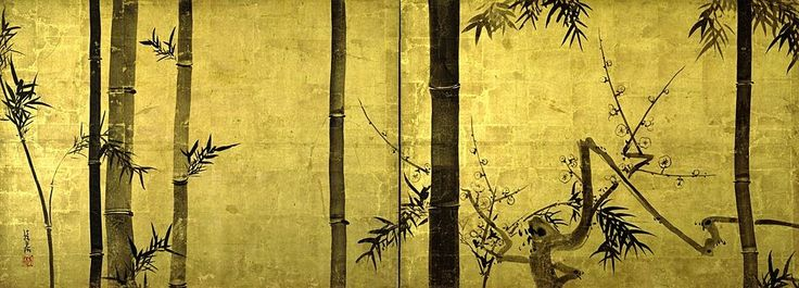 Bamboo and Plums by Ogata Korin (1658-1716).