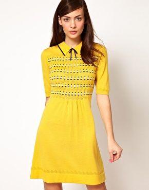 Image 1 ofOrla Kiely Knitted Dress in Boat Pointelle