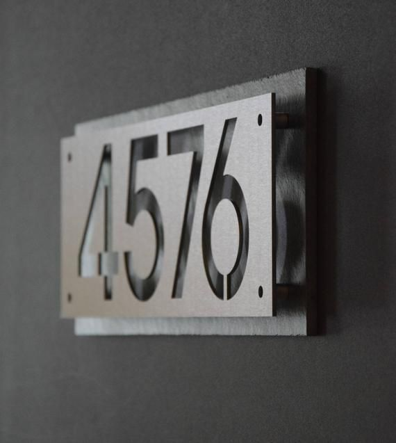 Custom Stainless Steel And Natural Slate House Numbers Etsy House Numbers Name Plates For Home Steel House