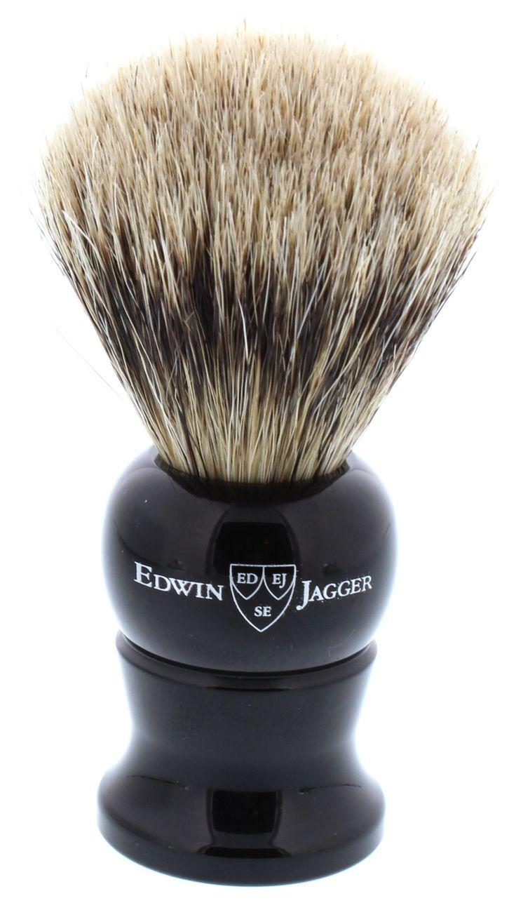 Edwin Jagger Super Badger Shaving Brush, Small, Imitation Ebony