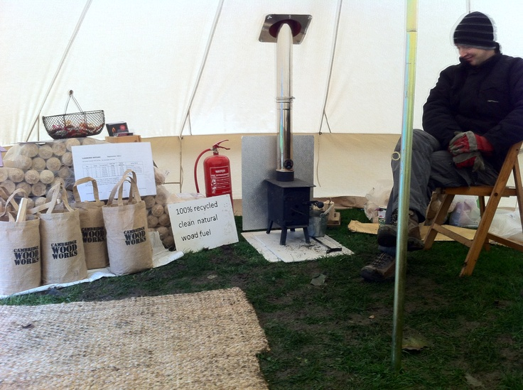 Cosying up to a little Blaze stove burning Cambridge Hotlogs in our Soulpad tent at Mill Road Winter Fair 2012