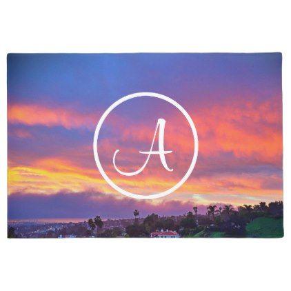 #Pink & blue sunrise photo custom monogram doormat - #doormats #home & #living