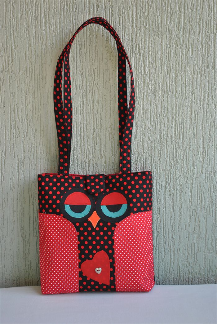 Ricki - ladies black and red owl bag | Witching Hour | madeit.com.au