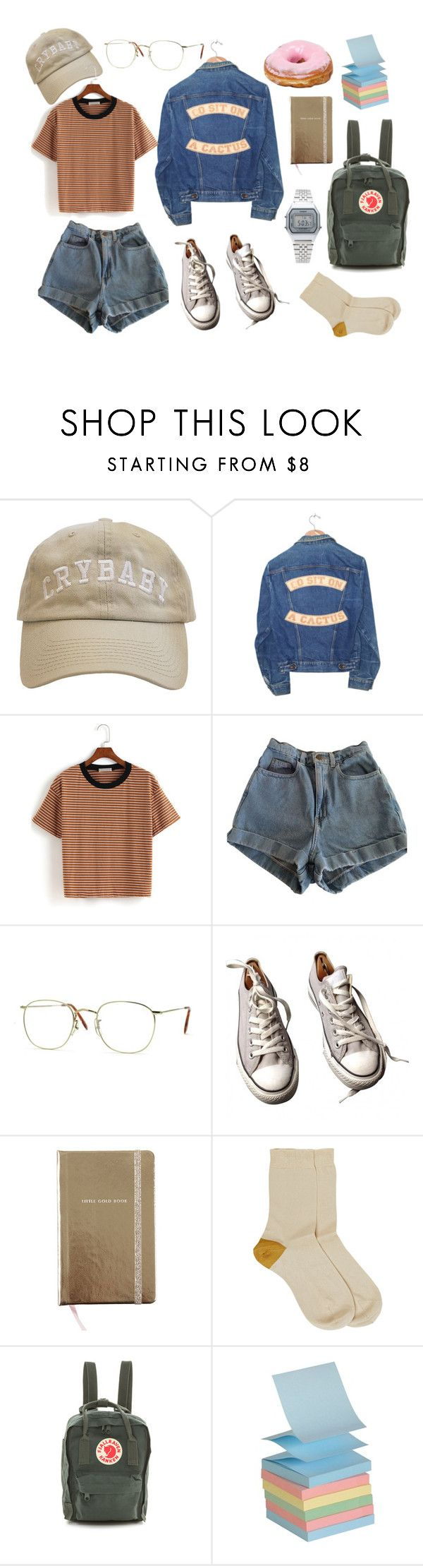 """school outfit"" by shashlicheck ❤ liked on Polyvore featuring Understated Leather, American Apparel, Converse, Kate Spade, Maria La Rosa, Fjällräven and Casio"