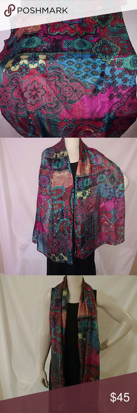 "Chico's silk paisley scarf So gorgeous!  Light and flowy SILK scarf in rich jewel tones of deep fascia pink, turquoise and cobalt blue. 72"" long, 17"" wide. NEW, never worn. Chico's Accessories Scarves & Wraps"