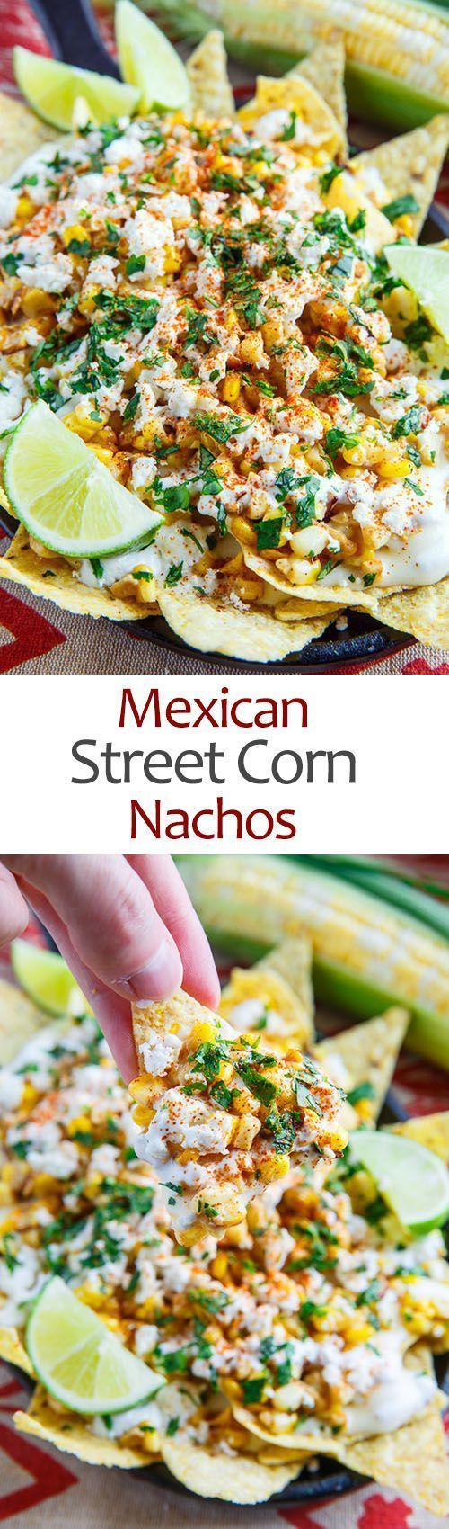 #NationalCornChipDay: Mexican Street Corn Nachos - all the flavours of Mexican style street corn in nacho form with grilled or charred corn, mayo, feta, cilantro, cayenne and lime juice along with the nachos and creamy melted Monterey Jack cheese sauce!