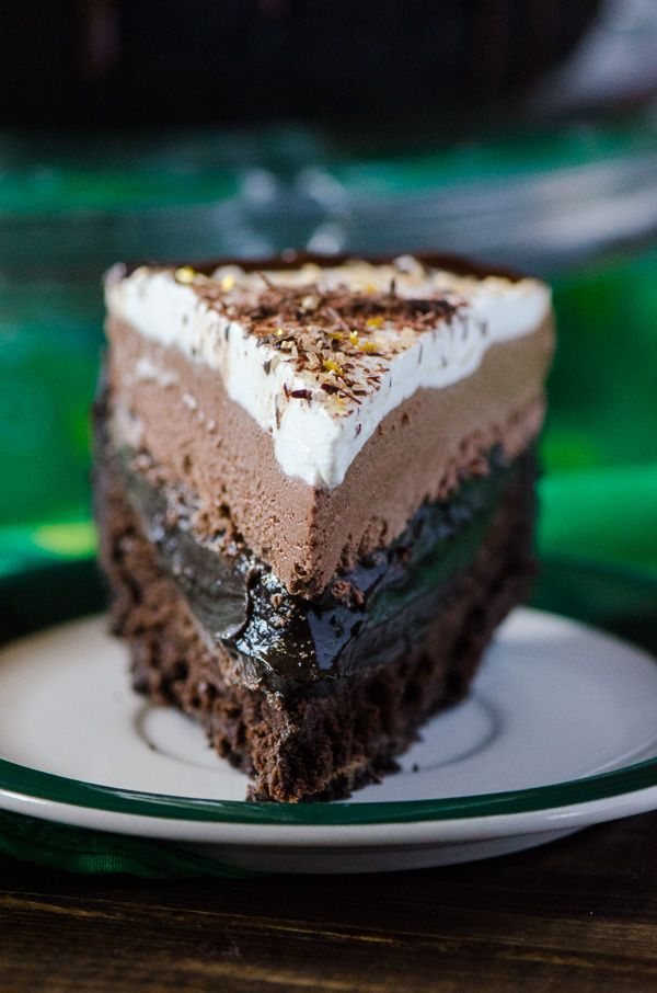Chocolate --> cookie crust, flourless whiskey cake, layer of espresso pudding, Irish cream mousse, topped off with sweet whipped cream - it's a dream!