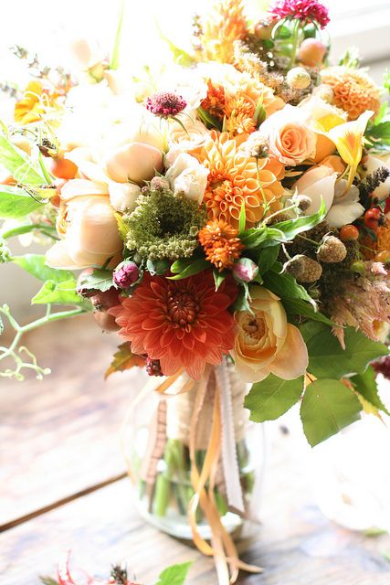 organic bridal bouquet for a foodie wedding., via Flickr. by Erin Benzakein  garden roses, dahlias, nasturtiums, berries, apples, tomatoes, peppers, pea vines and herbs