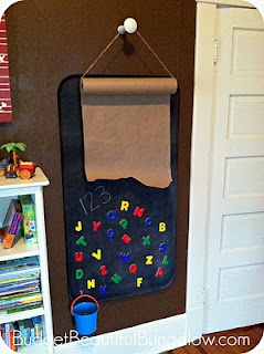 how to create hanging easel...  oil drip pan, chalkboard paint.....
