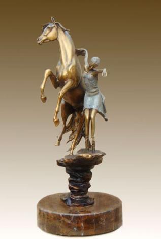 PasDeDeux Bronze limited edition sculpture of horse and ballet dancer by J Anne Butler