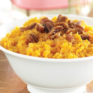 Mashed Sweet Potatoes with Caramelized Pecans from Seasons are an easy side dish for Christmas or just a family dinner at home. The caramelized pecans can be made ahead of time - just make sure you don't snack on too many. They're kind of addictive.