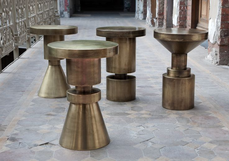 "Anna Karlin ""Chess Stools"" / brass plated, cold rolled, hollow steel  / Bespoke Global"