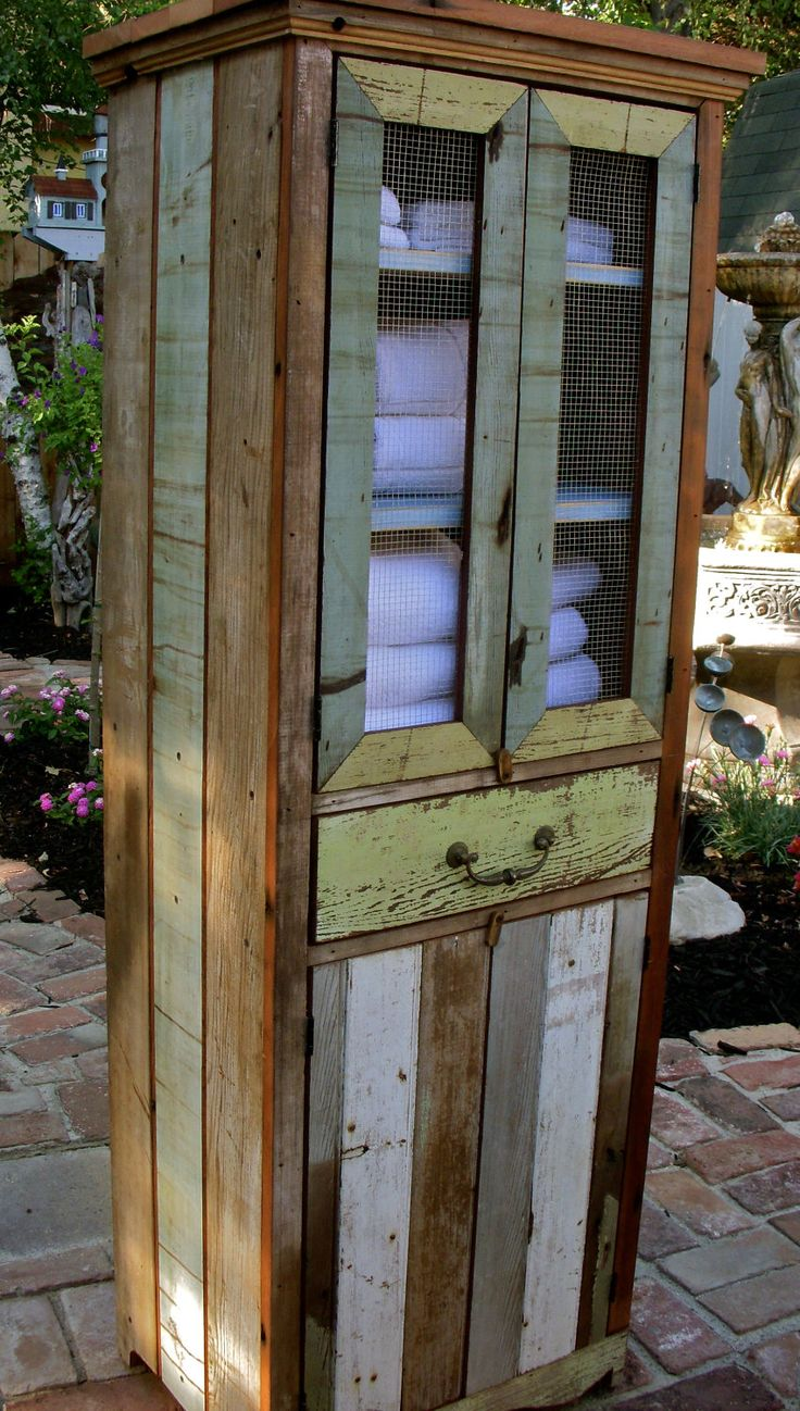 Reclaimed Wood Furniture - Cabinet - Handcrafted - Shabby - French Country Chic Decor~ love all the different colours!