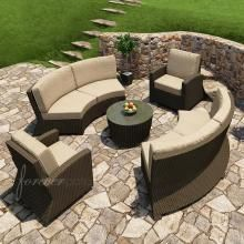 Forever Patio Barbados 6-Person Resin Wicker Patio Sectional Set - Ebony : Outdoor Kitchens Depot
