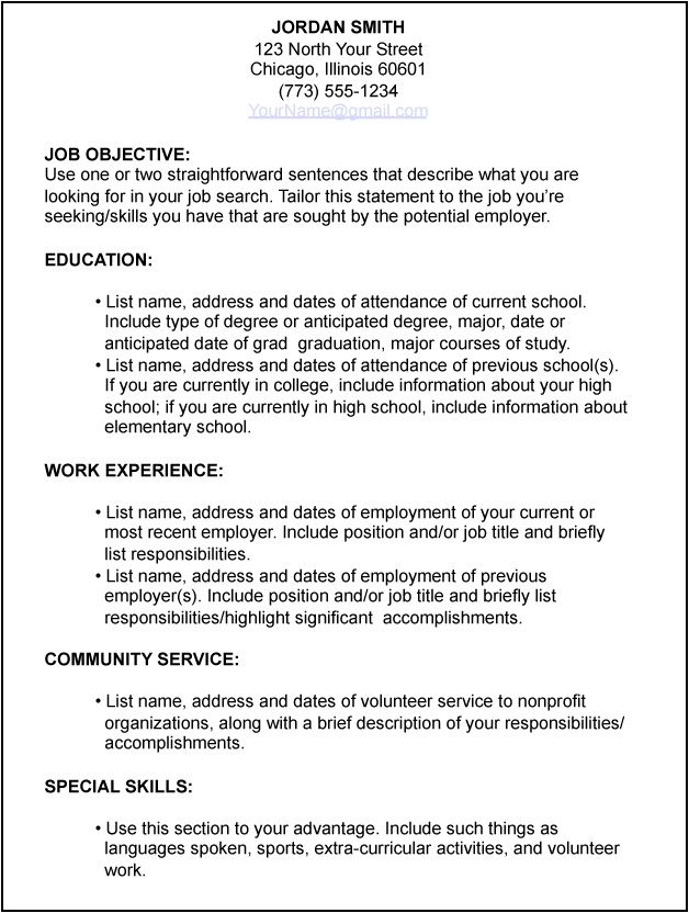 Microsoft Word Resume Template  Free Download Job Application