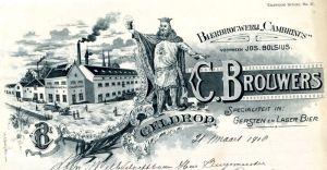Het Briefhoofd van de Cambrinus Brouwerij.