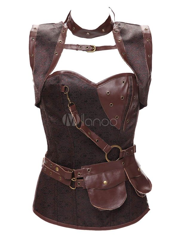 af2cf4abe8f ... leather corset bustier brown corselets plus size. Waist Trainer Corsets  Overbust Steampunk Style Steel Boned Corsets With Thong  Corsets