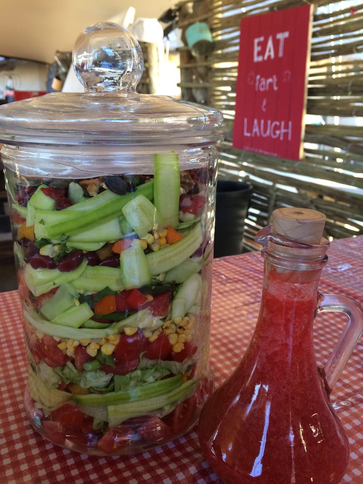 Awesome salad with strawberry vinaigrette