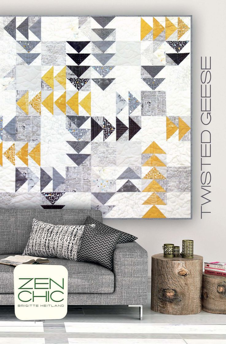 Modern quilt pattern making use of a Layer Cake. The used fabrics are FRAGILE and PAPER by Zen Chic for Moda and the no-waste-flying-geese-technique makes it a fun project even for a beginner. A cosy inviting lap quilt for your couch. Download your PDF instantly here.