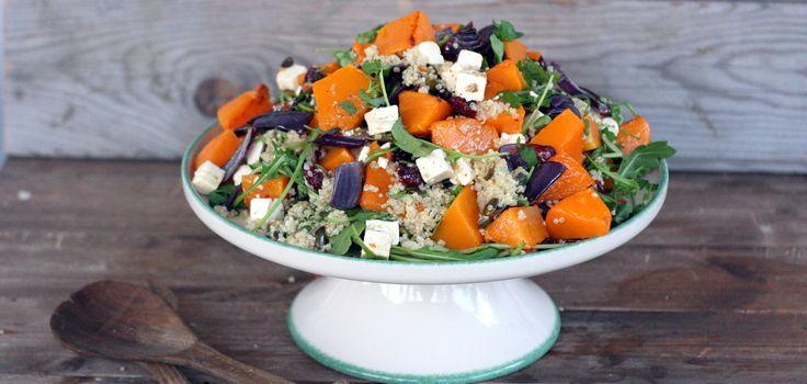 Warm winter salad with roasted pumpkin, quinoa, cranberries and feta