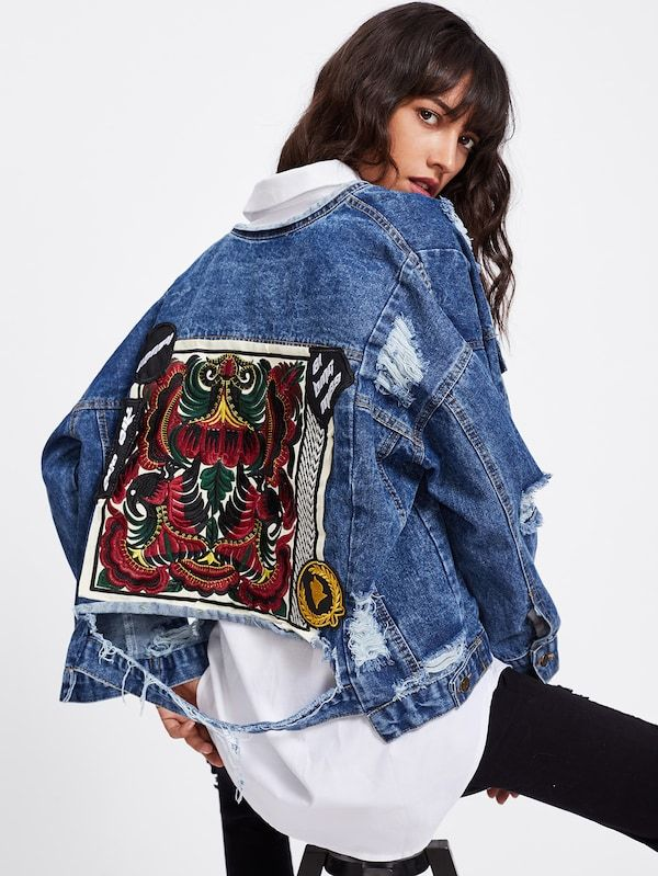 00d3149090 Embroidered Back Extreme Distressing Denim Jacket Women's spring fashion  2019 curated by ShaundaNecole.com